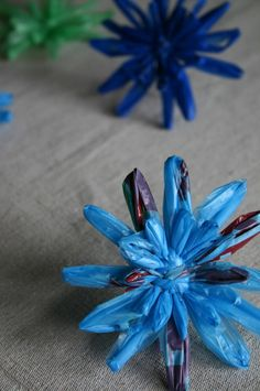 Reuse, recycle! Plastic bags turned into flowers