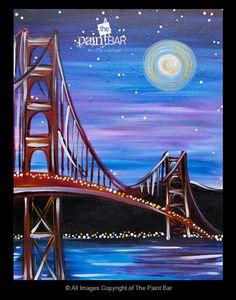 Golden Gate Bridge at Night Painting - Jackie Schon, The Paint Bar golden gate bridge