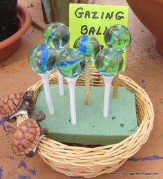 Fairy Garden gazing balls. Marble on top of a golf tee ~ cute!!