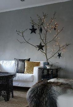 lights, holiday, xmas trees, color, stars, christmas decorations, modern christmas, tree branches, christmas trees