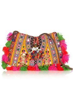 Finds + Muzungu Sisters embellished cotton-blend shoulder bag NET-A-PORTER.COM