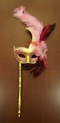 Pink and Gold Venetian Feather Mask