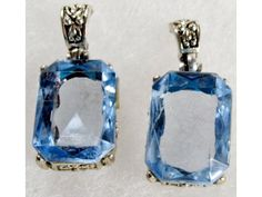 Vintage Simulated Blue Topaz Earrings | Clearance Priced