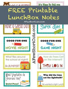 Free Printable Lunch Box Notes from AFewShortCuts.com