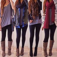 Fall outfits with jackets, cardigans, black jeans, boots, and scarves.