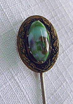 Vintage Art Nouveau Handpainted Porcelain Stickpin