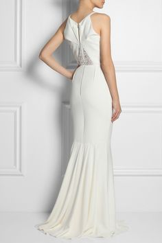 Lace and crepe fishtail gown