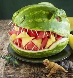 Watermelon dinosaur. This is a combination of leif and acacia's favorite things!!! @Aubrey Godden Jenkins birthday, watermelon dinosaur, food, dinosaur fruit platter, dino m, boy, dinosaur bday, dinosaur watermelon, kid