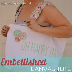 Embellished Canvas Tote - Great for pool, Bible study, daycare, and more!