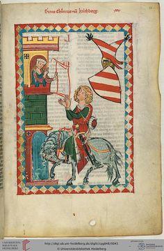 """La culture courtoise dans le """"Codex Manese"""" - Zürich, v. 1305-1340 - Heidelberg, Universitätsbibliothek, Cod. Pal. germ. 848, fol. 24."""