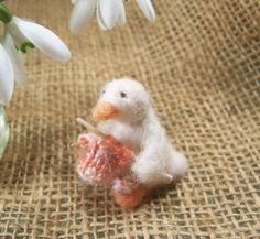 Knitting Duck needle felted silk and wool by fantiny on Etsy, $24.00