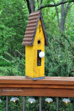 Love this yellow birdhouse :)   Rustic Birdhouse  The Loft by RebeccasBirdGardens on Etsy,