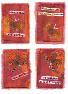 """ATCs with words #atcs. The wording on each card reads as follows:- """"She makes art loudly."""" """"Her inner child is clutching a crayon."""" """"She rocks."""" and finally, """"She makes herself happy."""""""