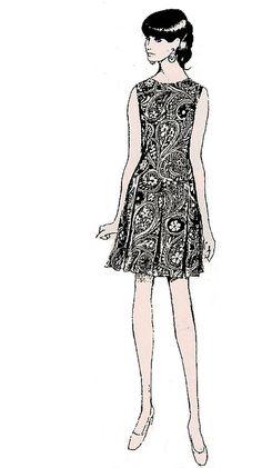 1960s fashion illustration.