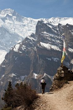 High route trail near Ghyaru, Nepal, a landlocked sovereign state located in South Asia.
