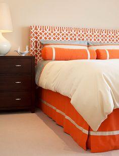 Orange, white, and brown teen girls bedroom