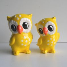 Ceramic Love Owl Figurines Vintage Design in Yellow by fruitflypie