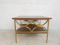 Mid Century Modern Walnut and Brass Side Table 4757 M | eBay