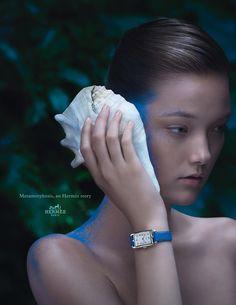 "Metamorphosis, an Hermès story. ""Nantucket"" watch in silver, silvered dial, smooth calfskin strap. Hermès 2014 spring-summer campaign. #hermes"