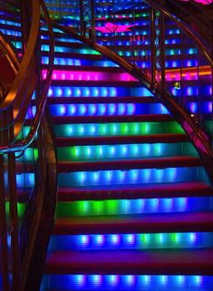 Colorful stairs on Freedom of the Seas.