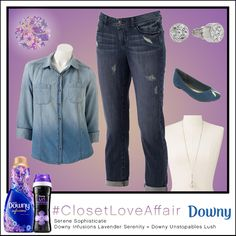 This Serene Sophisticate look was inspired by Downy Infusions Lavender Serenity and Downy Unstopables Lush. The statement studs combine with the subtle blouse to make even your casual days fabulous. To shop this look, visit the LC Lauren Conrad collection available only at Kohl's. To register for the #ClosetLoveAffair sweepstakes visit https://downy.promo.eprize.com/pinterest/.
