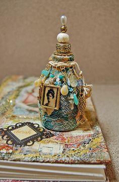 Altered Art Book and little Sidekick Altered Bottle  #bottles #jars #craft with bottles #glass craft #recycle #upcycle #altered art bottles