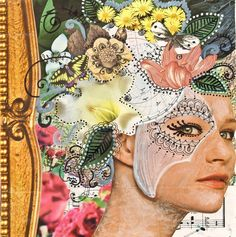 Day 17 - mixed media original art - 40 Works in 40 Days porject portrait flower crown mask floral