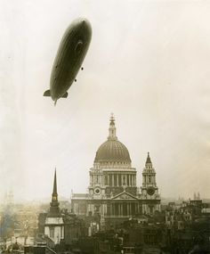 Why so sinister? German zeppelin over London, 1930.