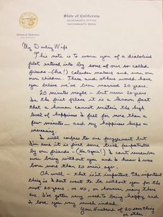 A letter from Ronald Reagan to his wife on the eve of their 20th anniversary.  Some people really do experience this kind of love.
