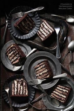 chocolate & butterscotch mousse cake