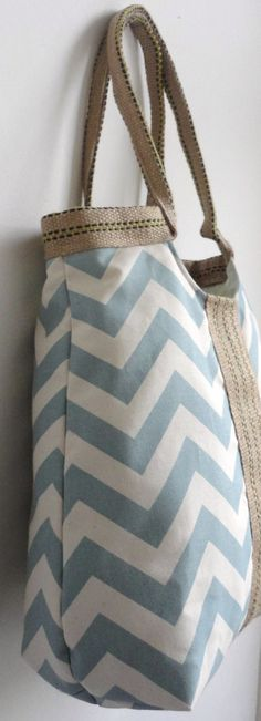 Blue chevron carry on hobo bag with burlap SPRING by madebynanna, $65.00