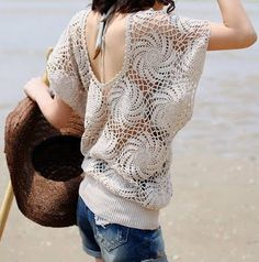 crochet..I'd wear it over a lightweight tee.