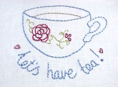 Free tea party embroidery patterns! | The Making Spot blog