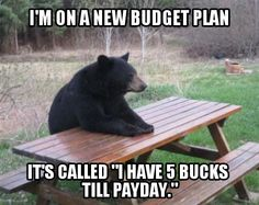 """I'm on a new budget plan. It's called """"I have 5 bucks till payday.""""   The trick is to figure out how to stick to a budget before you get down to 5 bucks. These links will help.   From SmartCollegeVisit.com"""