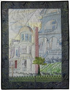 "Migliavacca Moods: 22"" x 28.5"" by Susan Lane. Original design art quilt  inspired by Migliavacca Mansion, Napa, CA."