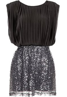 Business Glamour Dress: Features a beautifully pleated black chiffon bodice with relaxed tailoring to flatter all figures, deep V-design to the back with a crowning adjoining strap, and a sparkling sequin skirt for an ultimately glamorous finish.