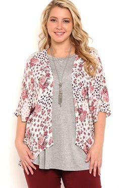 Deb Shops Plus Size Floral Print #Kimono $25.00