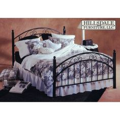 Casual elegance is easy with the Hillsdale Willow Metal Bed. Mixing round and square diameters this bed features arched head and footboards topped with elegant scrollwork. Hand-painted details and a textured black finish add to the charm while the fully welded construction means this bed is built to last. It has 1.75-inch square legs .75-inch square rails and .5-inch rounded spindles. You can order the complete bed or just the headboard and it's