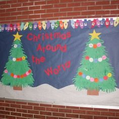 A great Christmas bulletin board idea! The light bulbs are the border and has the kids' picture inside of each bulb. The ornaments going around the trees are the different ways to say Merry Christmas around the world. My students always loved this board and seeing themselves.