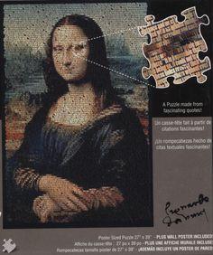 Quote O Graphs Mona Lisa Leonardo da Vinci Jigsaw Puzzle 1000 Pieces NEW. #monalisa #puzzles
