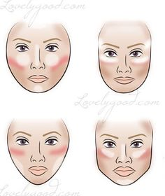 The white areas are where you will highlight with a highlighting blush, such as a matte white, or even a soft shimmering white, there are all kinds out there.The pink/corally sections are where you will apply your blush.The brown areas are where you will contour with a brown blush, or a bronzer.