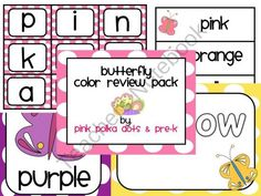 Butterfly Theme Color Review Pack  $2.50