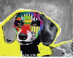 dog art, pop dog art, abstract dog art (como mi sammie!)