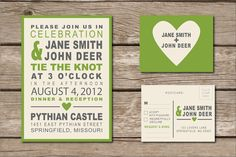 Wedding Invitation & RSVP: Rustic Block Type