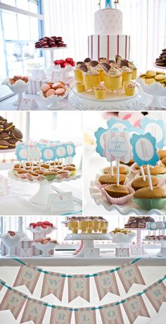 Pink and Blue Carousel Birthday Party.