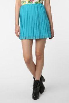 turquoise pleat skirt