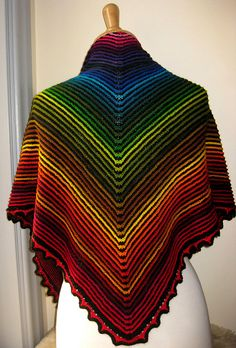 Ridge and furrow rainbow triangular shawl - 56 different colours of sock yarn -( there is also a 3 colour version) - by Sue Grandfield