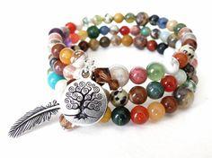 Memory wire boho wrap bracelet, cuff, 3x wrap with charms, tree of life & feather charms, gemstone medley, boho jewelry