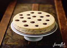 toffee cheesecake with chocolate polka dots