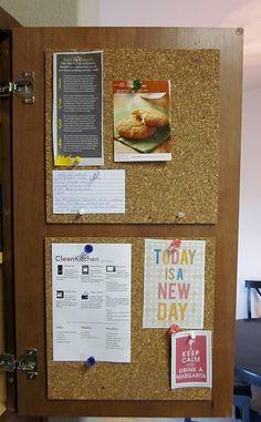 cork board on the inside of the cupboard